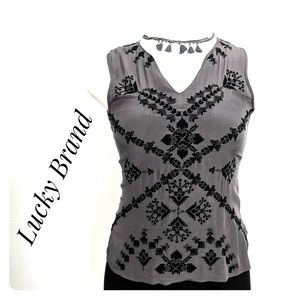 LUCKY BRAND Silk Beaded Embroidered Top